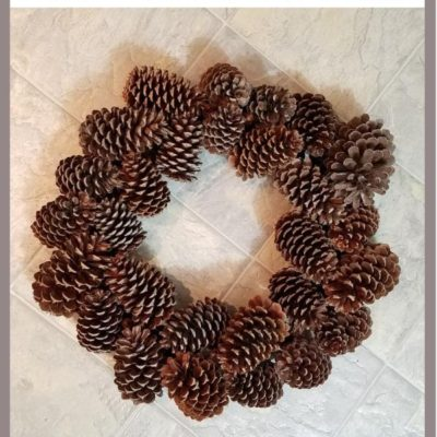 One Dollar Pine Cone Wreath pinterest image