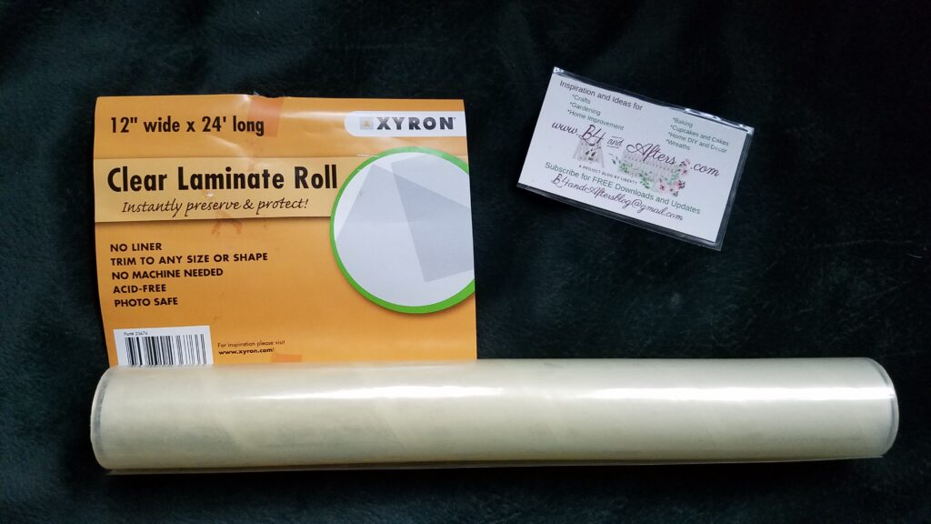 clear laminating roll with laminated business card