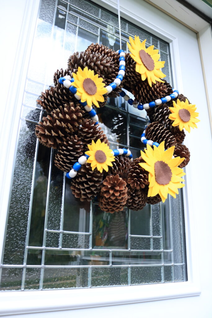 view from underneath sunflower wreath