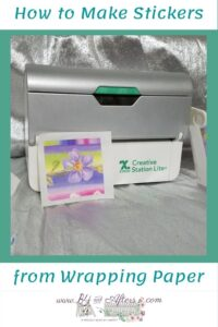 wrapping paper sticker with Xyron Creative Station Lite in the background