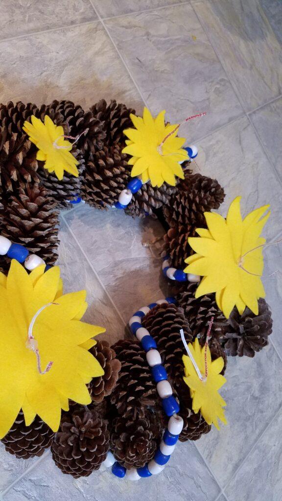 felt sunflowers ready for wreath