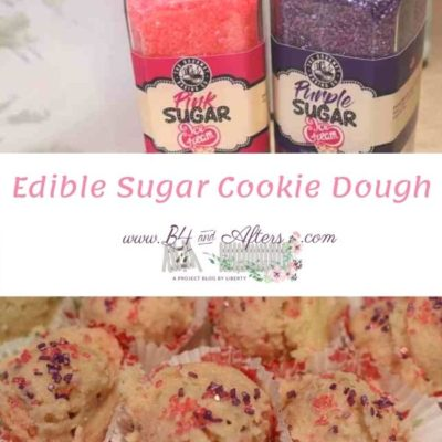 pink and purple sugar sprinkles with edible cookie dough