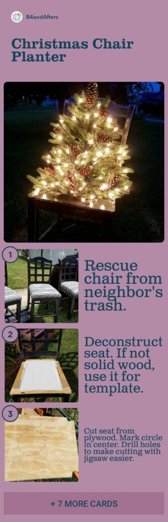 Christmas tree in a chair planter