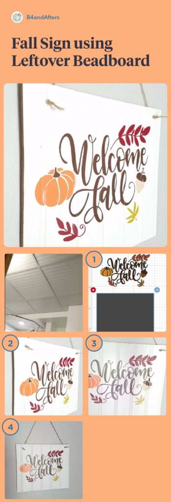 Fall sign using leftover beadboard step by step in pictures