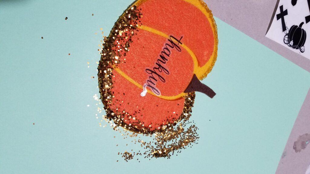glitter on felt pumpkin
