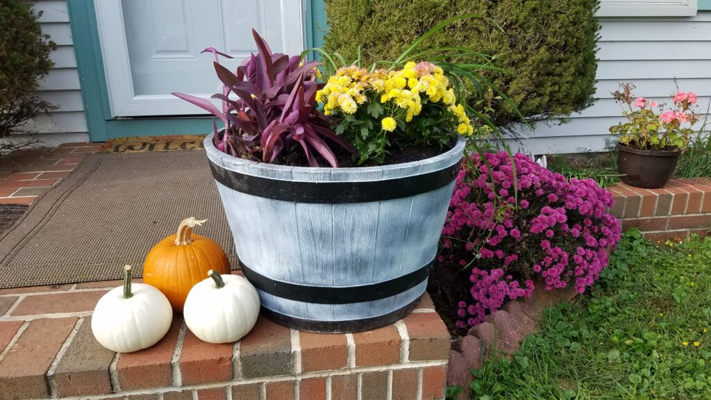 large planter for fall with lightweight filler