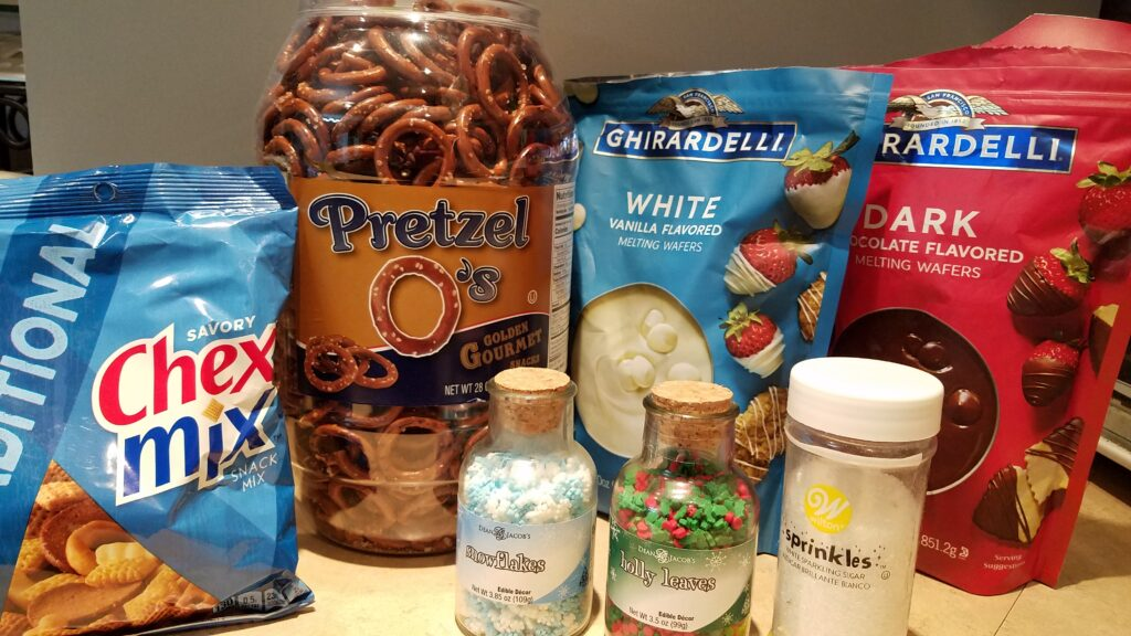 ingredients for chocolate covered snowman pretzels