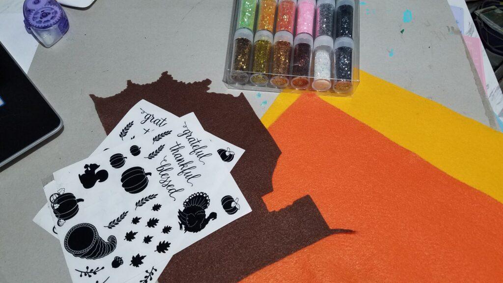 supplies for felt pumpkin decor