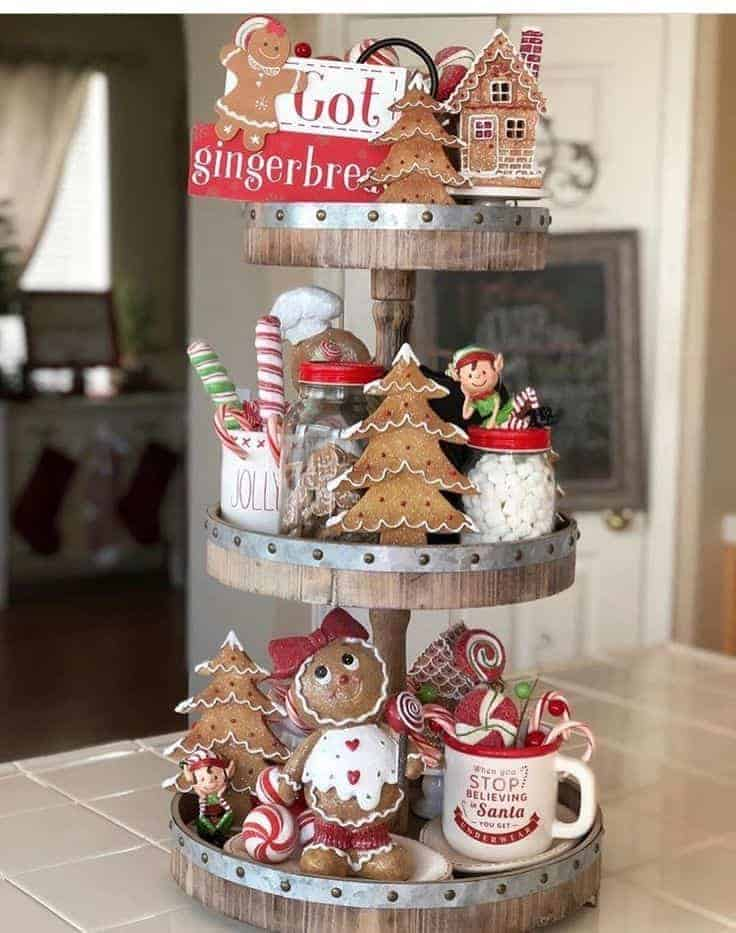Tiered Tray with Gingerbread theme from @cupcakecountrygirl