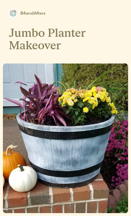 fall jumbo white planter with plants
