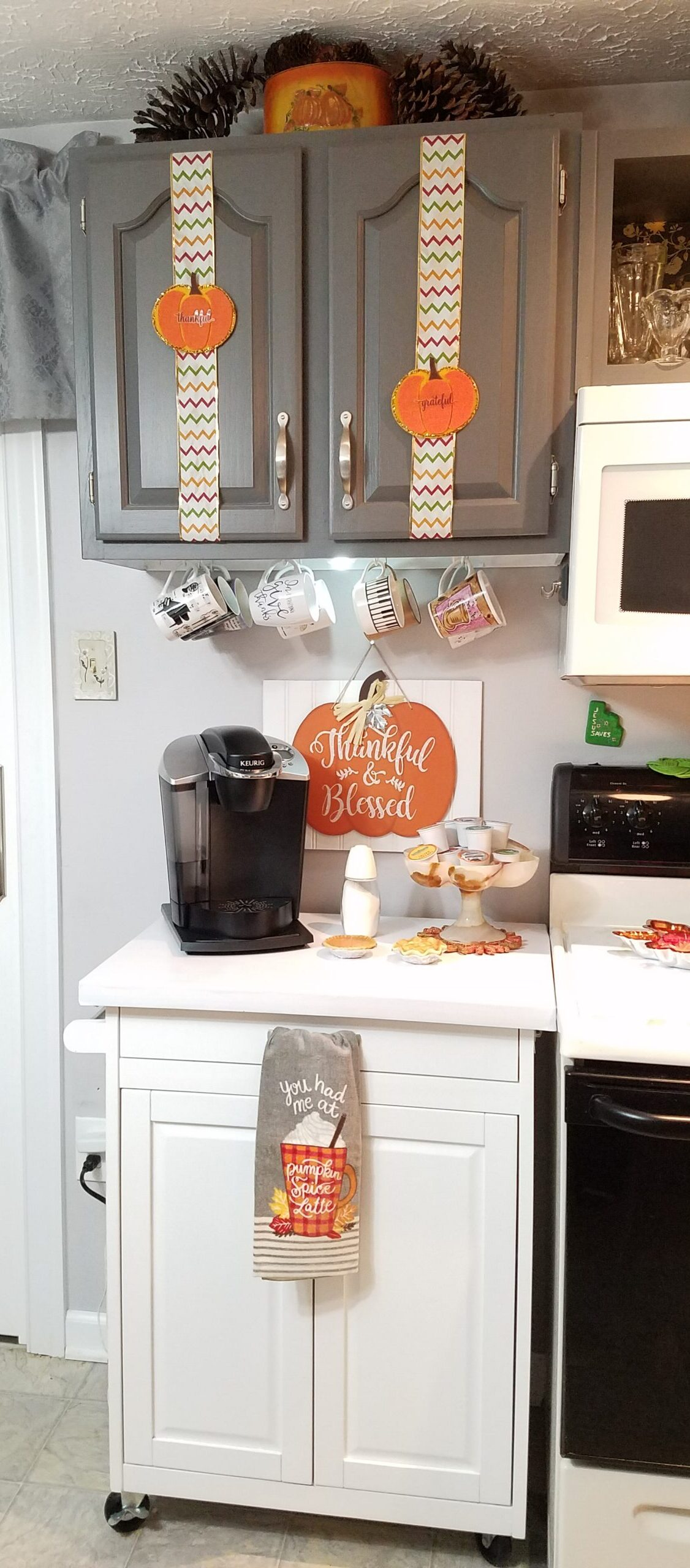 Kitchen Coffee Station all decorated with Pumpkins