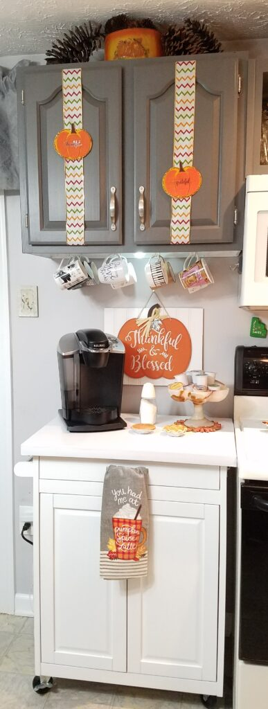 Updated Kitchen Coffee Station with white countertop