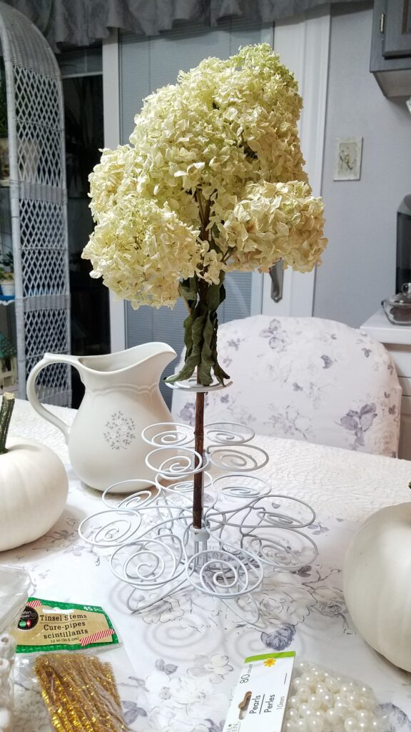 huge white hydrangea flower dried, in a white cupcake holder