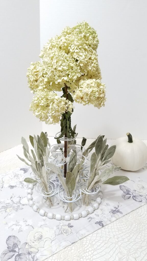 white hydrangea and lambs ear centerpiece