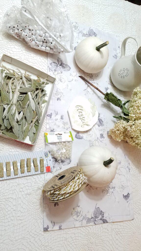 supplies for making white pumpkin centerpiece-- lambs ear, beads