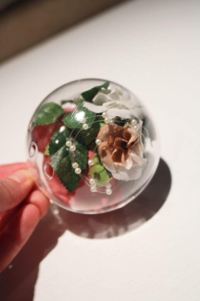 floral clear Christmas ornament