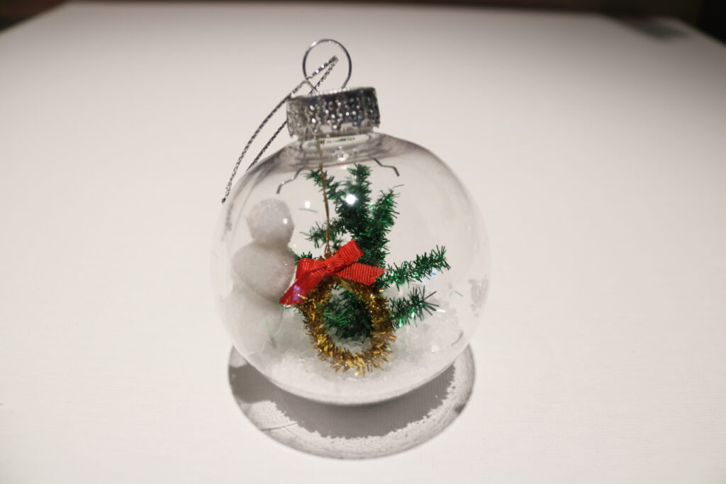 mini winter scene clear Christmas ornament