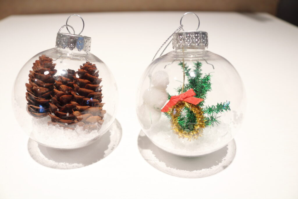 pinecones in a clear ornament, and a winter scene in another clear ornament