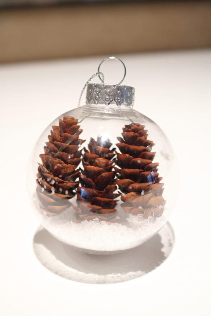 3 mini pinecones in a clear ornament
