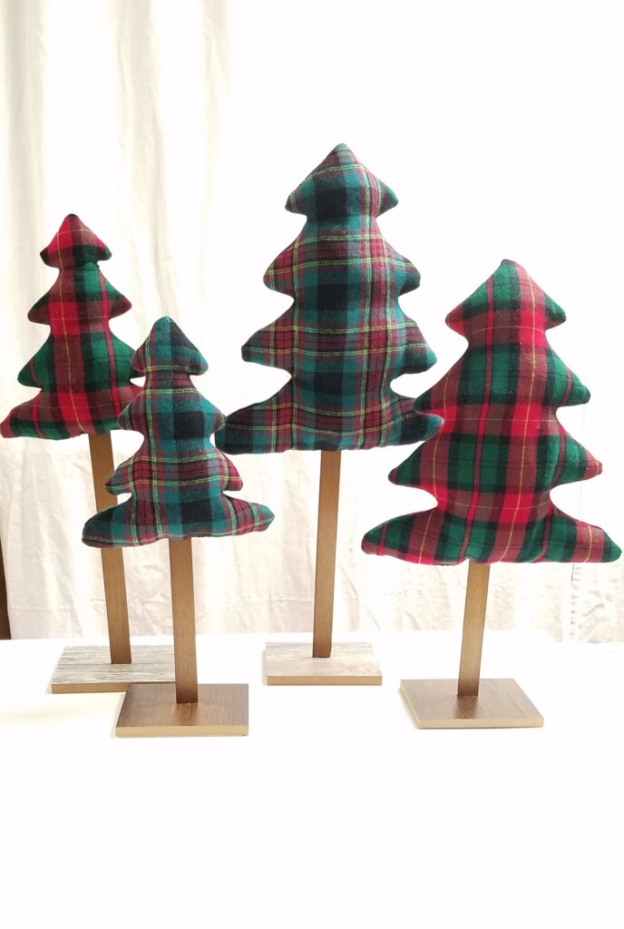 4 standing tabletop Christmas trees