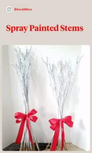 white dried stems with red ribbon