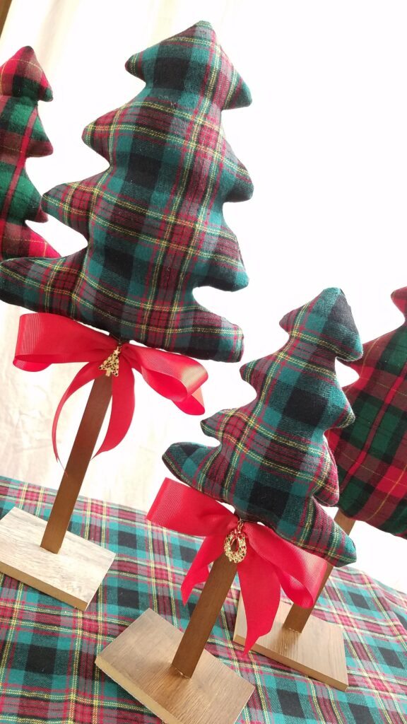 fabric trees with red ribbon
