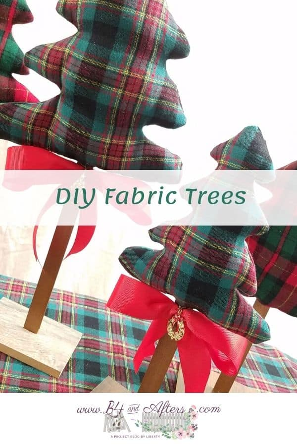 diy fabric plaid Christmas trees