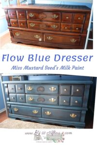 picture of brown dresser and blue dresser