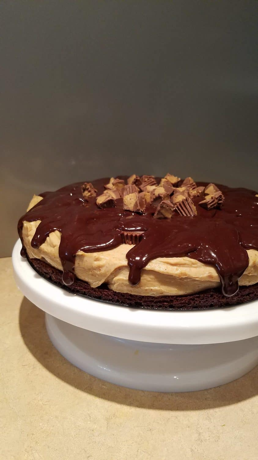 peanut butter cheesecake brownie cake