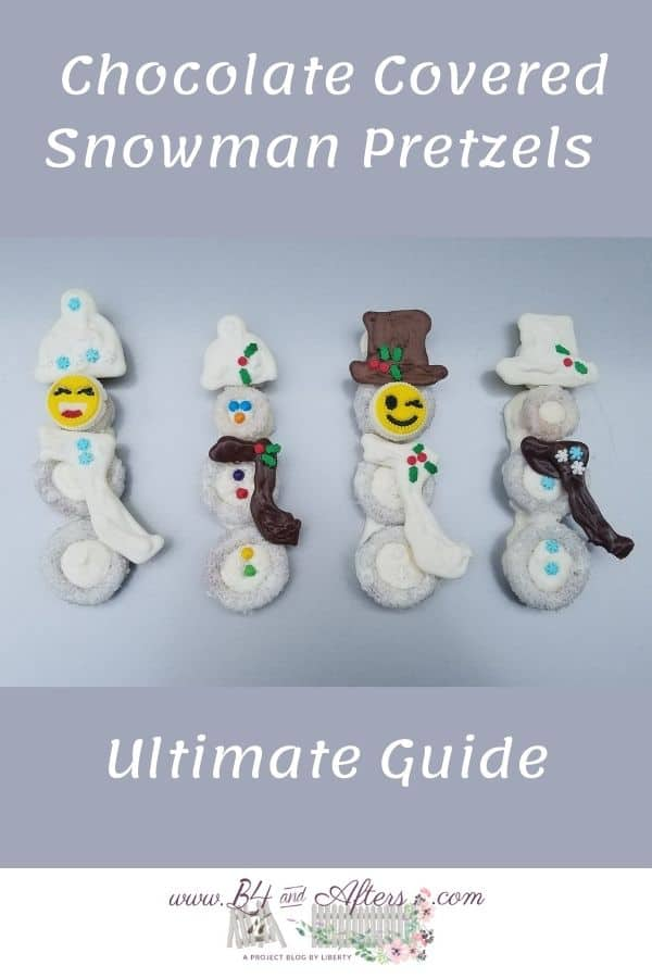 4 different chocolate covered pretzel snowmen with hats and scarves