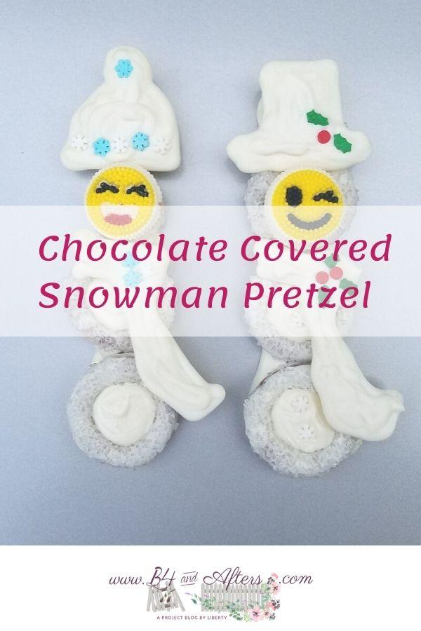 2 white chocolate pretzel snowmen
