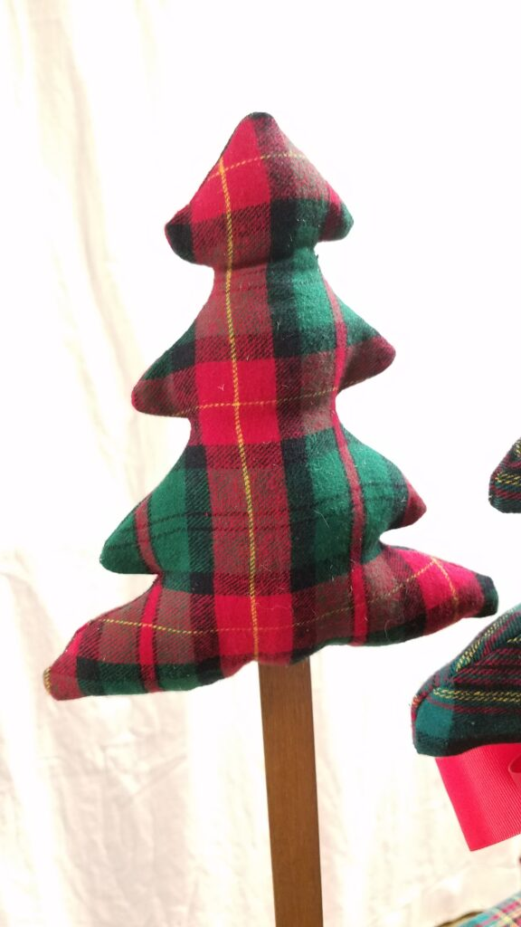 red and green plaid fabric tree