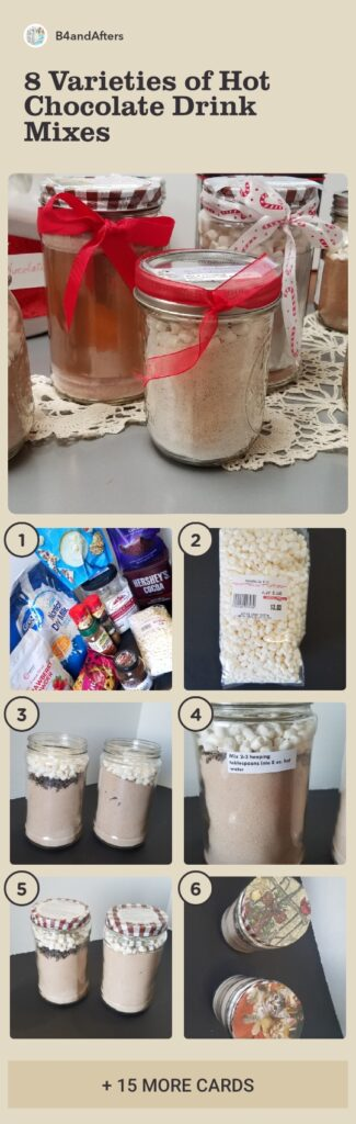 step by step pictures of making a variety of different hot chocolate drink mixes