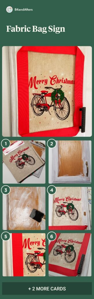 Upcycled Cupboard Door with fabric bag