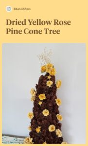 yellow roses dried on a mini pine cone tree