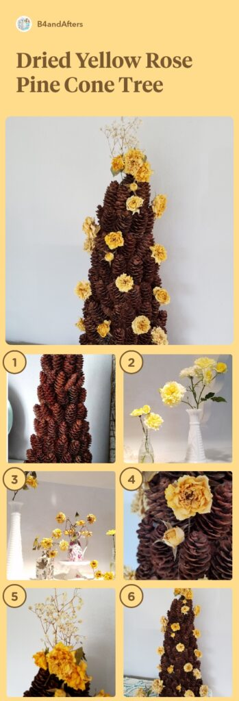 dried roses on a miniature pine cone tree step by step