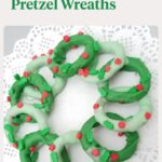 Green chocolate covered pretzel wreath