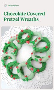 Chocolate covered pretzel wreaths