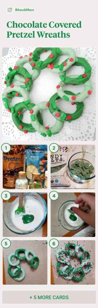 chocolate covered pretzel wreath step by step directions with pictures