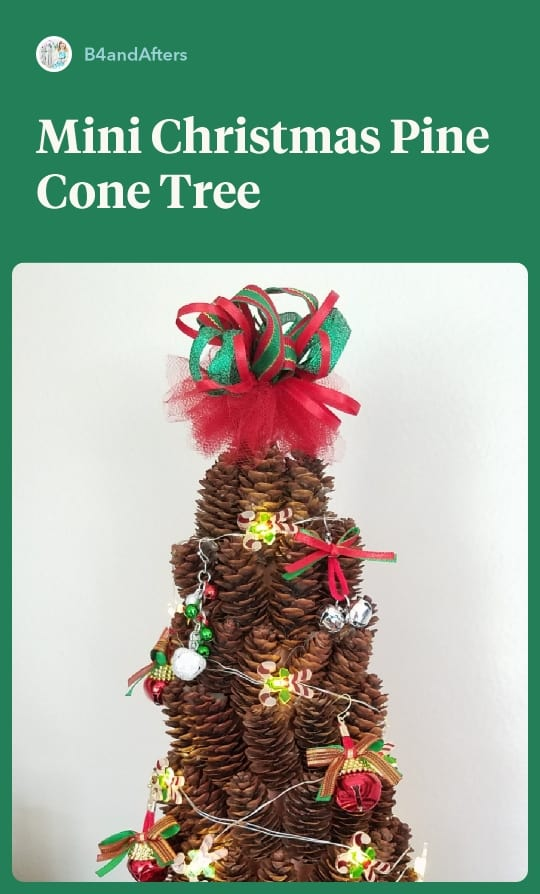 miniature Christmas tree using mini pine cones