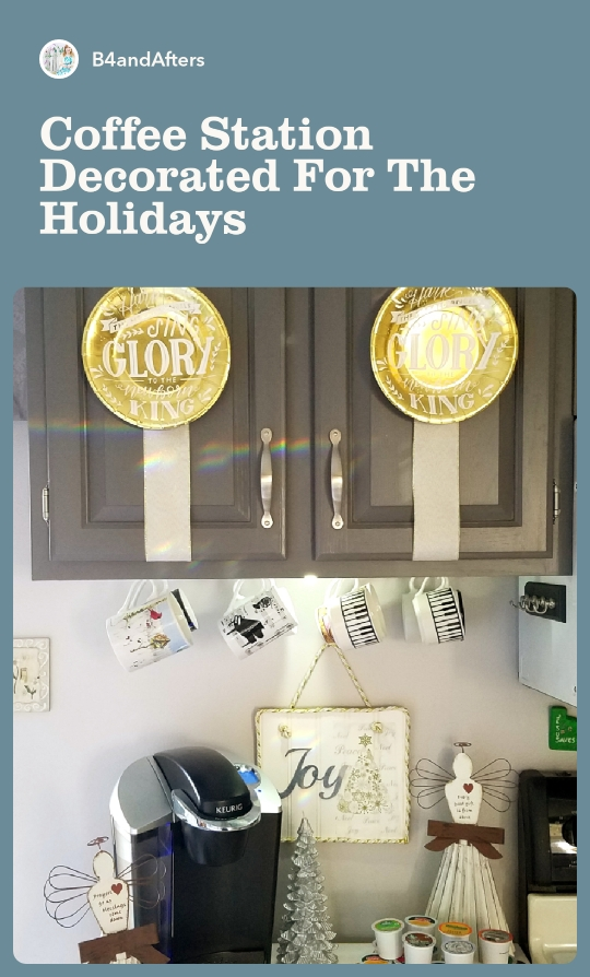 Paper plates decorating a gray cabinet at a coffee station