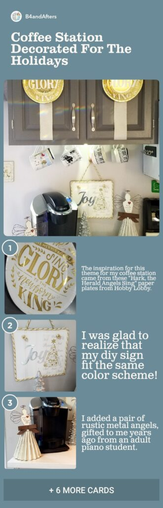 step by step decorating a coffee station with angel decor and pictures
