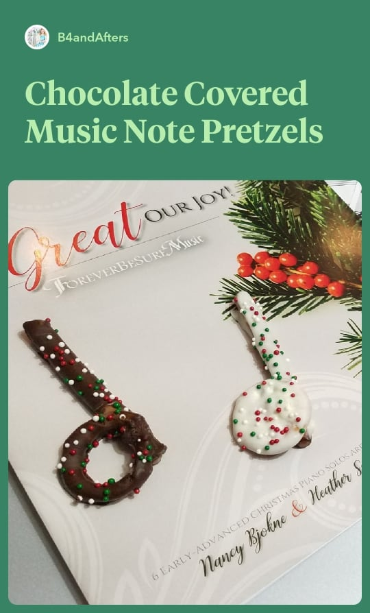 music note chocolate covered pretzels on a Christmas songbook
