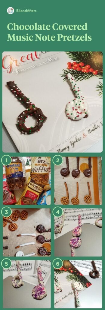chocolate covered music note pretzels, step by step with pictures