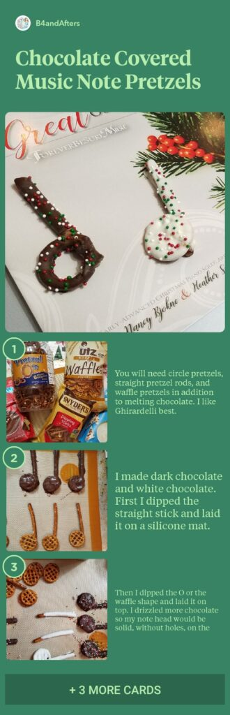 music note chocolate covered pretzels, step by step directions with pictures