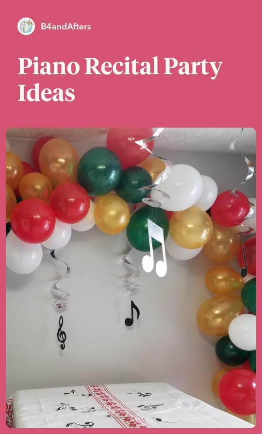 red, green, white, and gold balloon garland with music note swirls