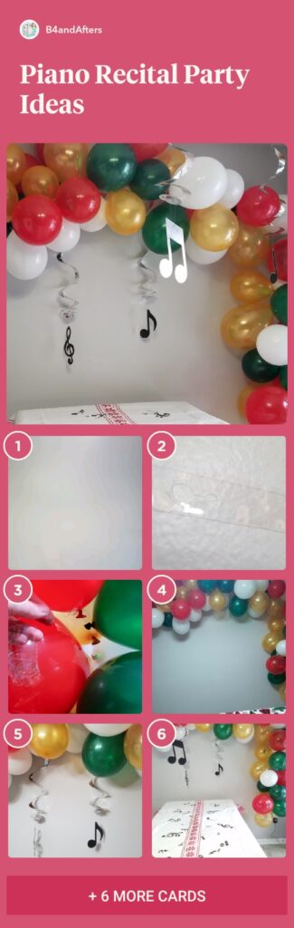 balloon garland step by step with red, green, white, and gold balloons