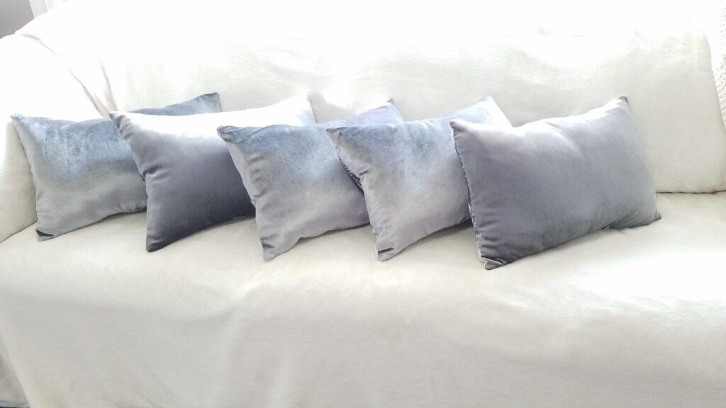 silver velvet pillows