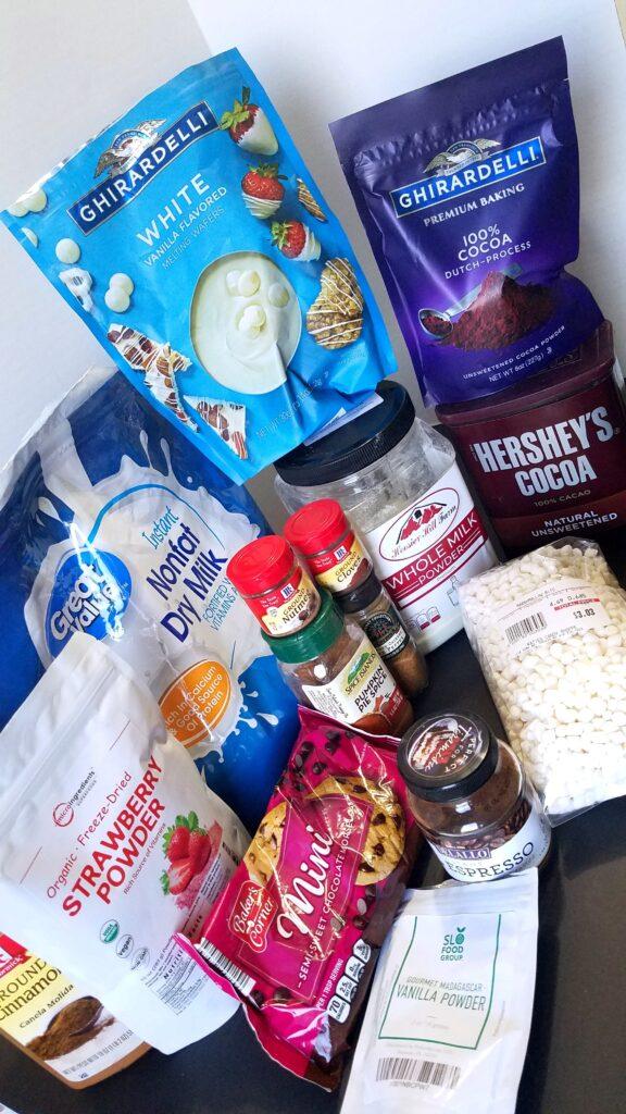 ingredients to make hot chocolate mixes