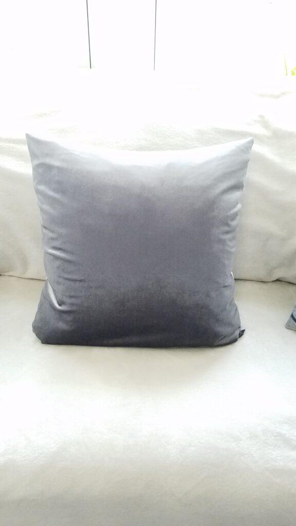 square silver gray velvet pillow